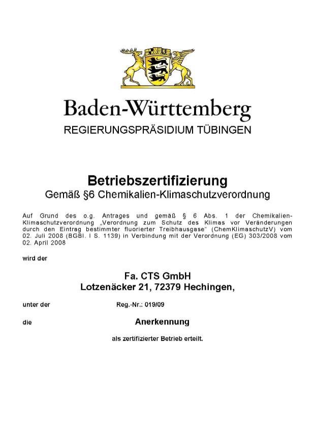 Zertifikate - CTS Umweltsimulationen