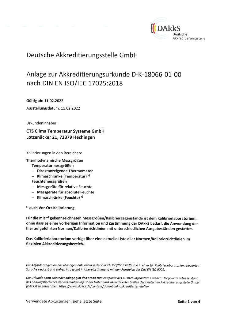 Appendix to the DAkkS Accreditation