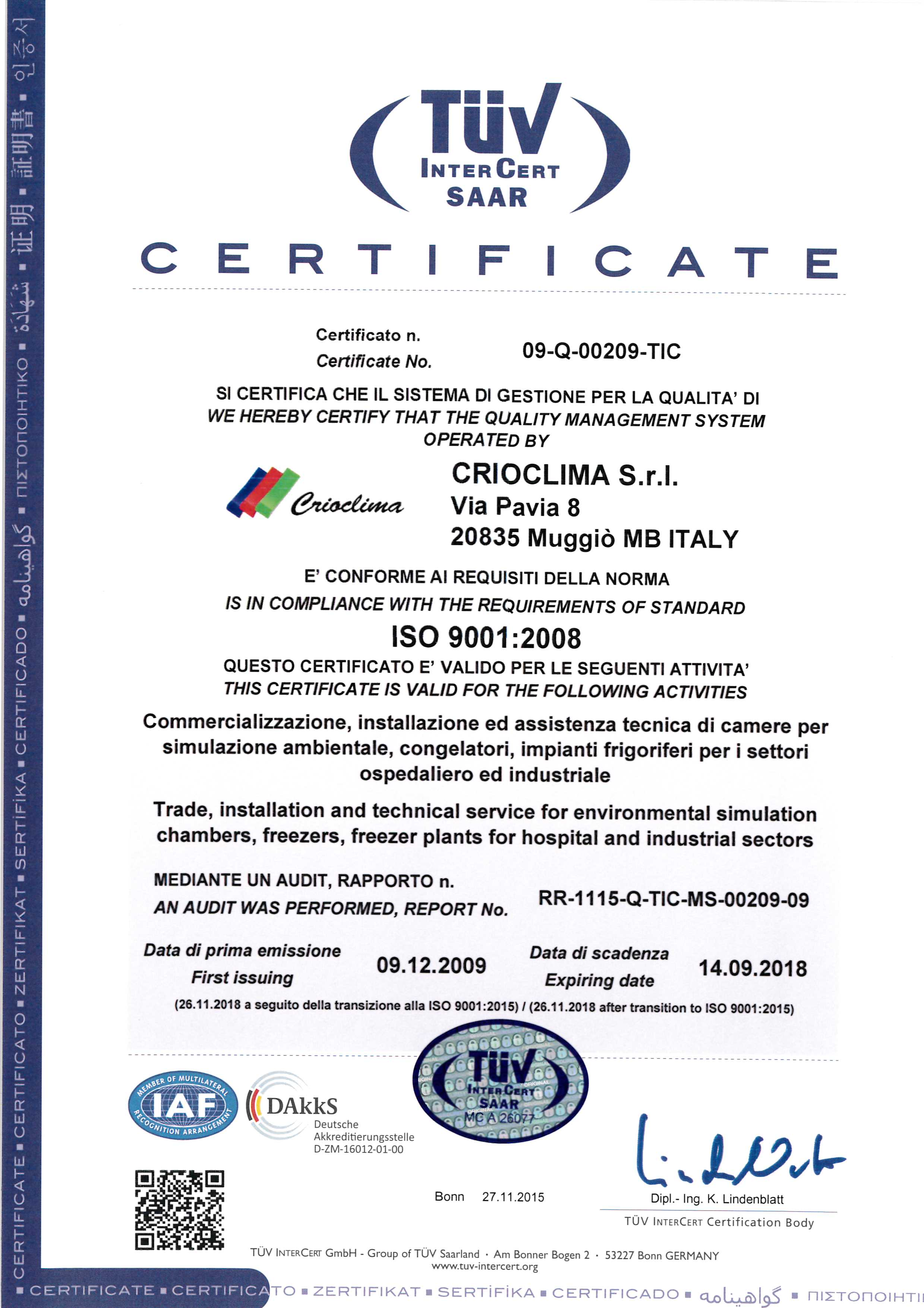 Certificate Italy